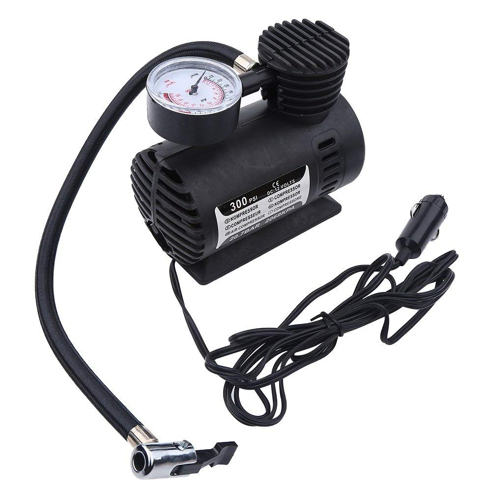 DeWin Electric Pump - Portable Mini Air Compressor, Electric Tire Infaltor Pump 12 Volt Car 300 PSI
