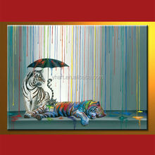 wholesale top quality three tiger mural about tiger protection large size oil painting
