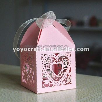 Laser Cut Heart Favor Box With Ribbon Fancy Baby Shower Favors From Yoyo View Larger Image