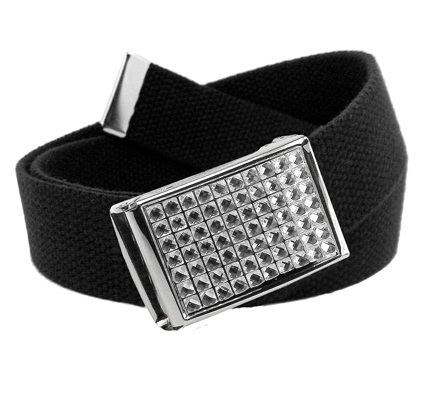 Girl's Easy Snap Crystal Buckle with Adjustable Canvas Belt for School Uniforms