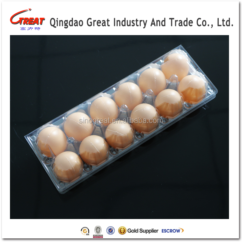 High Quality Plastic Egg Packaging Carton, blister egg clamshell with 12 cells