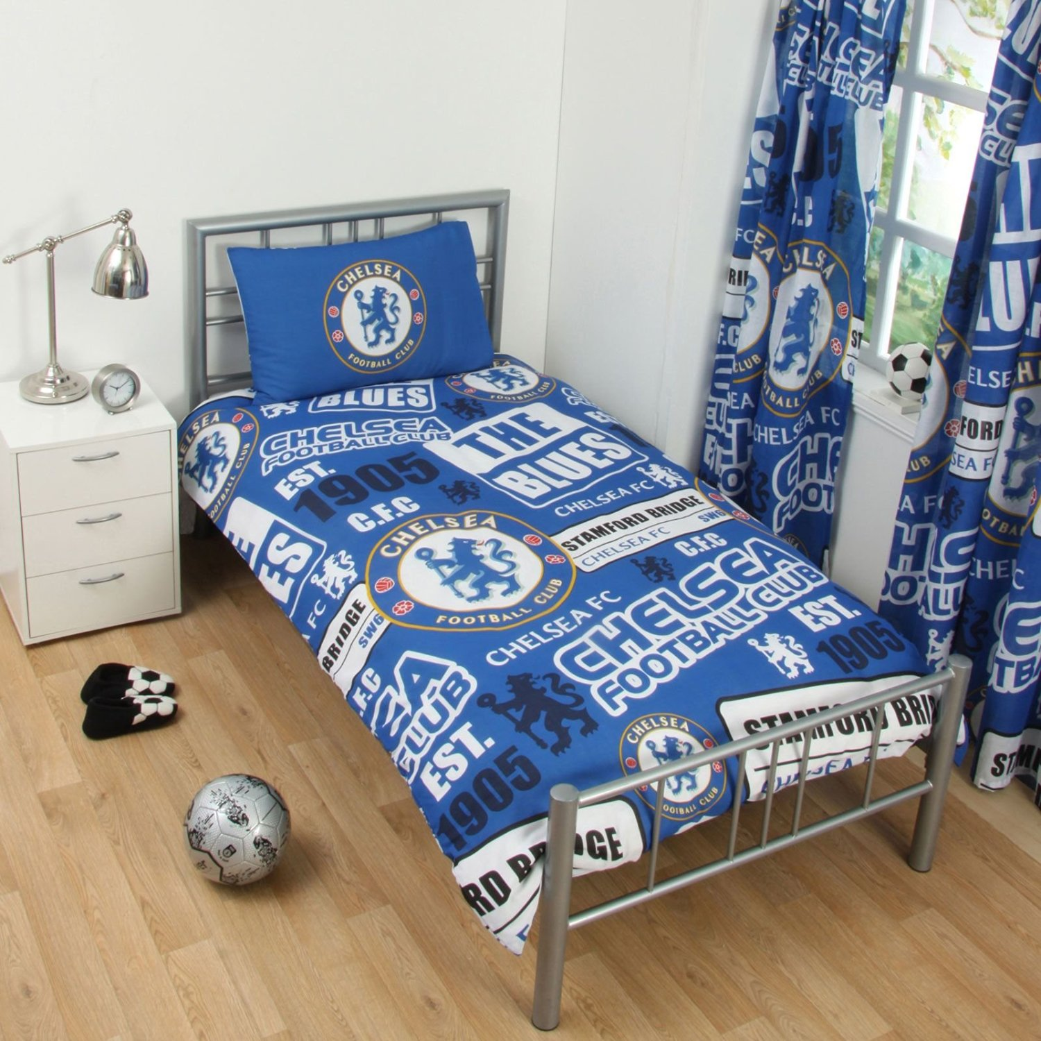 Chelsea FC Patch UK Single/US Twin Duvet Cover and Pillowcase Set