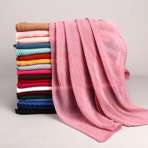 Women's Pleated Crinkle Hijab Scarf Muslim Head Wrap Shawl Plain Solid Wrinkled Scarf  180*80cm 20 colors