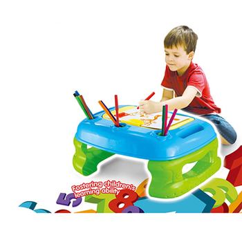 2 in 1 creativiteit desk & ezel plastic kids tekentafel speelgoed set