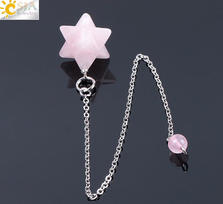 natural rose aventurine jade amethyst Picture stone  style decoration  hang ornaments hexagonal star pendant  men and women
