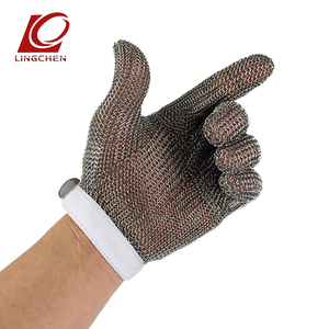 chain mail stainless steel meat processing anti cut resistant gloves