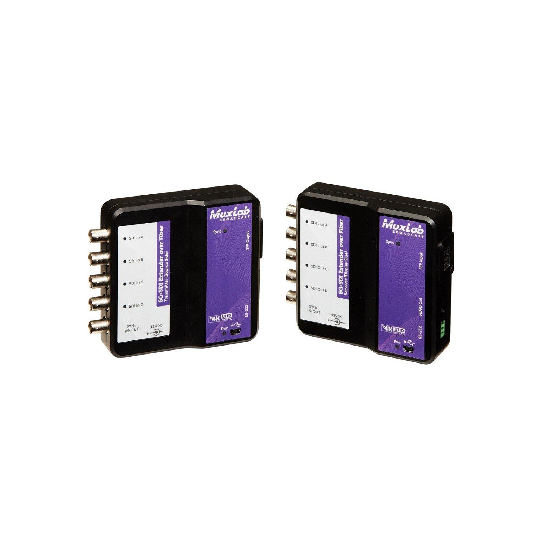MuxLab 6G-SDI Extender Over Fiber Optic 500732 | 6G 3G SDI Video Extender Over Fiber Optic Cat5e/6 RJ45 Plug Cable Supports 4K Resolution