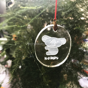 Hot sale bear engraved crystal glass hanging Christmas tree ornament/ small flat glass Christmas gift items