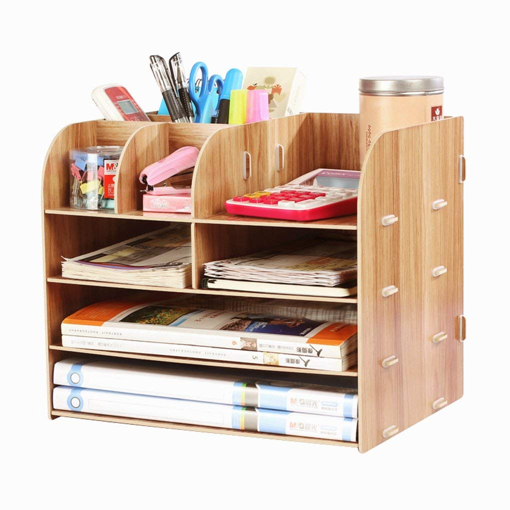 Desk Organizer Wooden Home Office Workspace Desktop Organizer Filing Organiser Paper File Folder Racks Holders Tray Tidy Book Shelf Pen Holder Desk Caddy Bookcase Files Document Display Rack