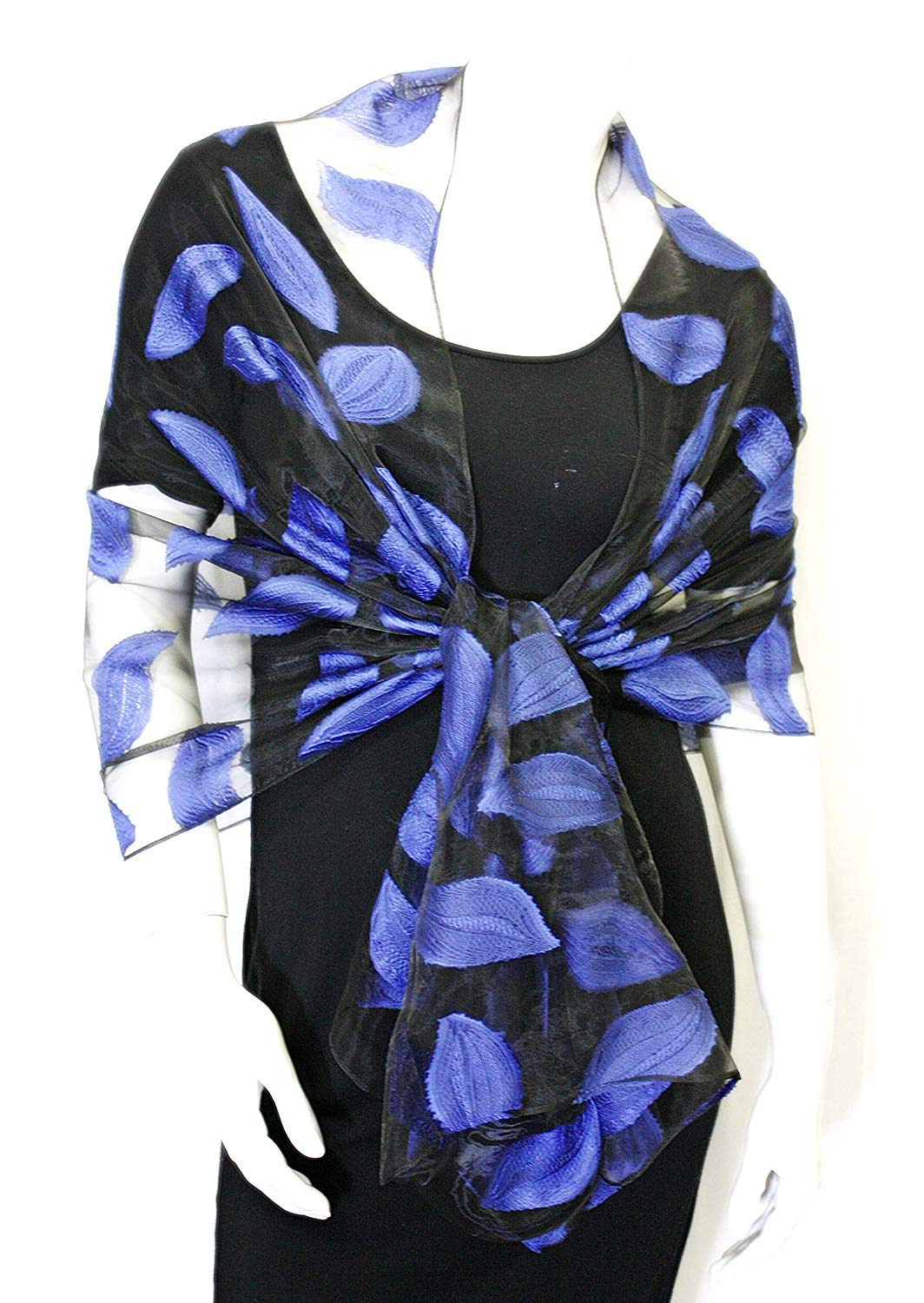 402374b191e Blue Leaf Sheer Shawl and Wrap - Classy Black and Royal Blue Evening Shawl