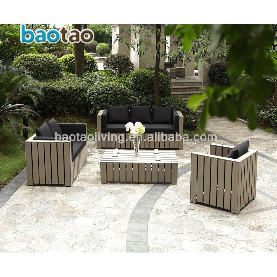 Pp Wooden Outdoor Sofa Set Plastic Garden Furniture Meubles De