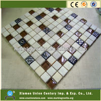 Marble and glass mosaic for swimming pool project