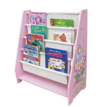 Children 5 Tier Canvas Book Stand Kids Fairy Storage Bookcase Display