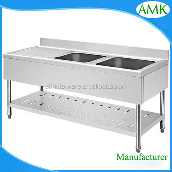 Metal Kitchen Work Table With Double Sink Table/Industrial Laundry Sink  Work Bench With Drainboard
