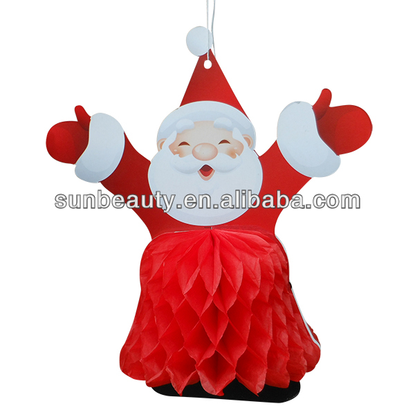 Wholesale Handmade Christmas Ornament Red Honeycomb Santa Claus