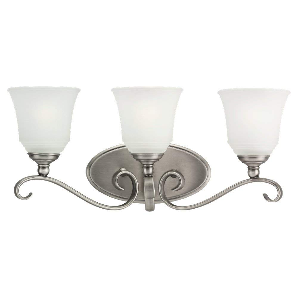 Sea Gull Lighting 44381-965 Bath Bar, Satin Etched Glass Shades and Antique Brushed Nickel, 3-Light
