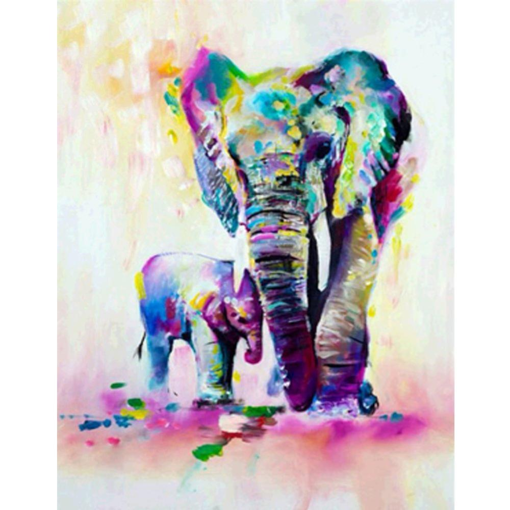 DIY Crystal Rhinestone Cross Stitch Embroidery Arts Craft <strong>Picture</strong> for Home Wall Decor,Elephant and Her Baby 12x16 inches
