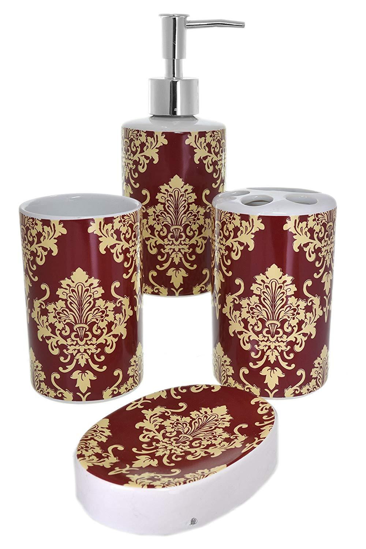 American Chateau Set 4 Piece Classic Burgundy Cream Damask Oriental Ceramic Bathroom Accessories