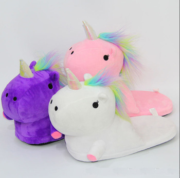 6136f4a5495 Hot sale promotional winter plush unicorn slippers for ladies and girls