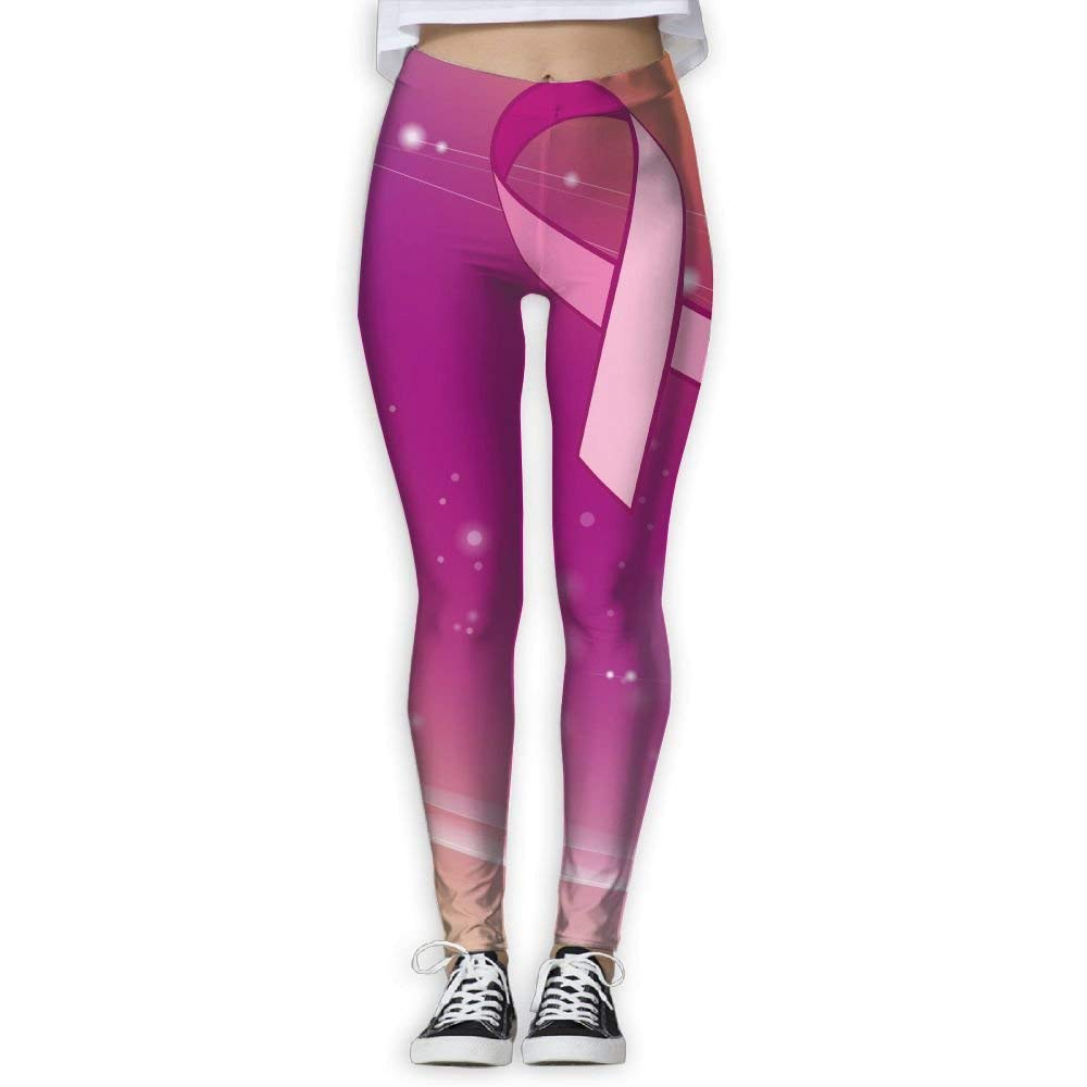 5d31c3aa25c3 Get Quotations · Galiy Pink Ribbon Breast Cancer Awareness Womens  Full-Length Sports Running Yoga Workout Leggings Pants
