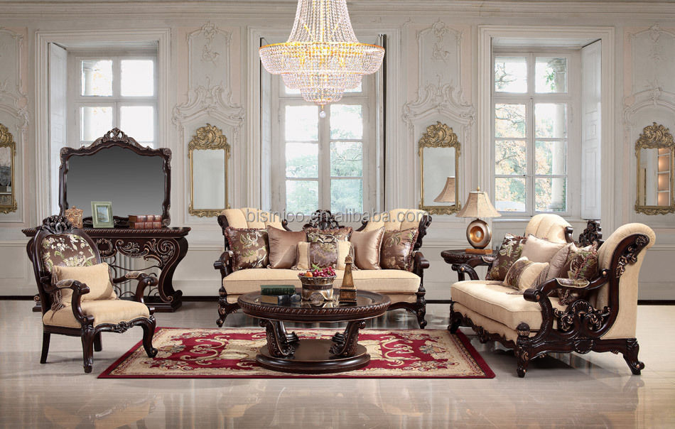 Victorian Style Luxurious Solid Wood Hand Caved Fabric Sofa Set Le Upholstered Living Room