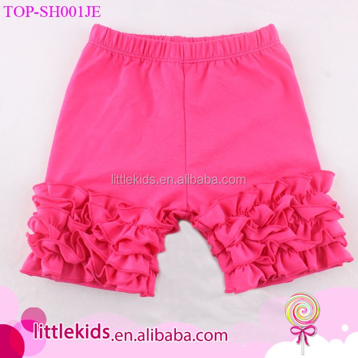 Hot sale New Fashion Children Summer Solid Color Clothing hot pink cotton Baby Girls icing Triple Ruffle Shorts