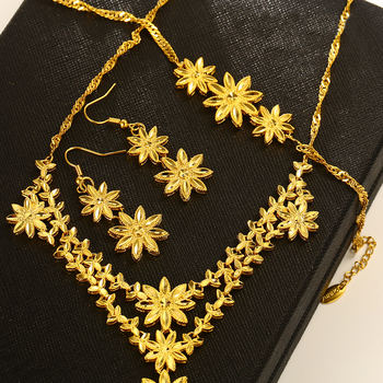 xuping necklace set, dubai 24K gold plated flower women wedding bridal jewelry set, wedding necklace