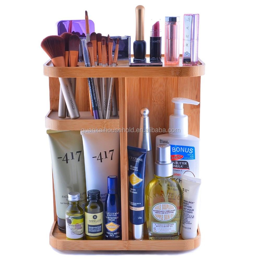 360 Derajat Berputar Bambu Kosmetik Organizer Untuk Makeup Aksesoris