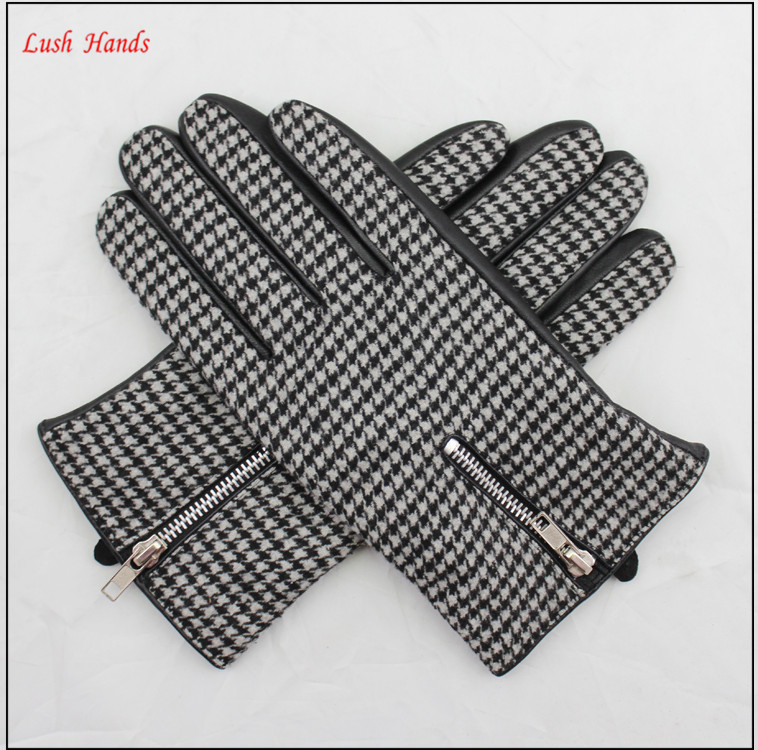 men's back of the black and white dot fabric and leather stitching design with zipper gloves