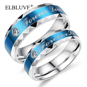 ELBLUVF Free Shipping Stainless Steel Jewelry Blue Love Forever Circular Zircon Wedding Couple Student Rings
