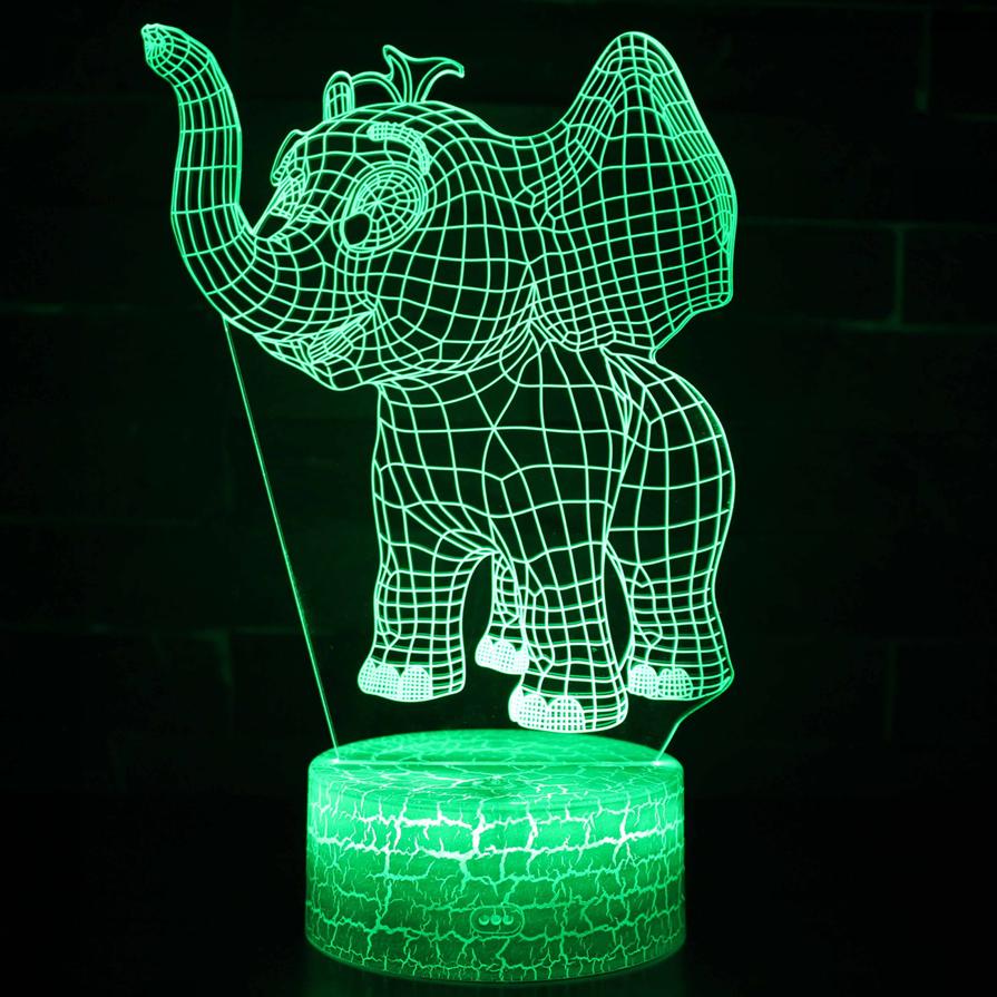 new design 3D elephant Lamp Bedside Baby Night Light 3D Light for xmas gift crack base