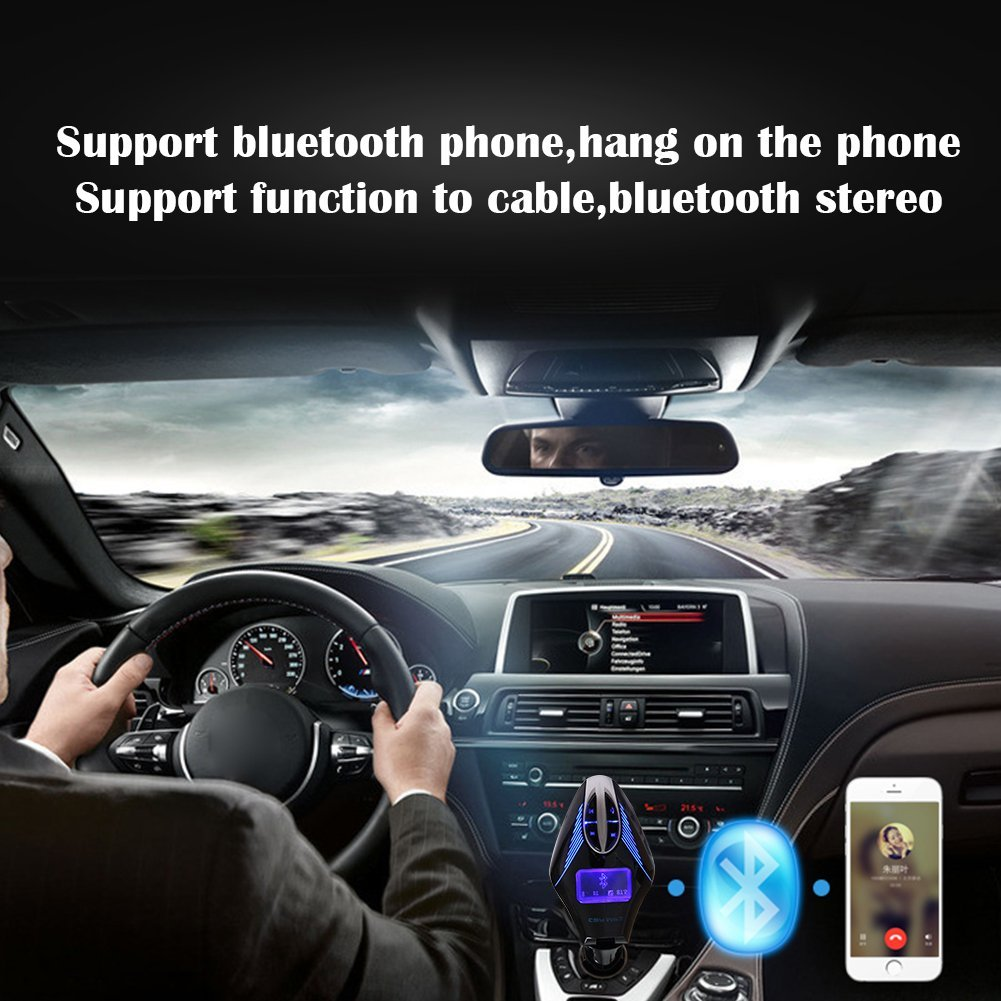 Wireless In-Car Bluetooth FM Transmitter USB Car Charger Radio Adapter Audio Receiver Stereo Music Modulator Car Kit Hands Free Call AUX Input with Micro SD/TF Card Slot and IR Remote Control