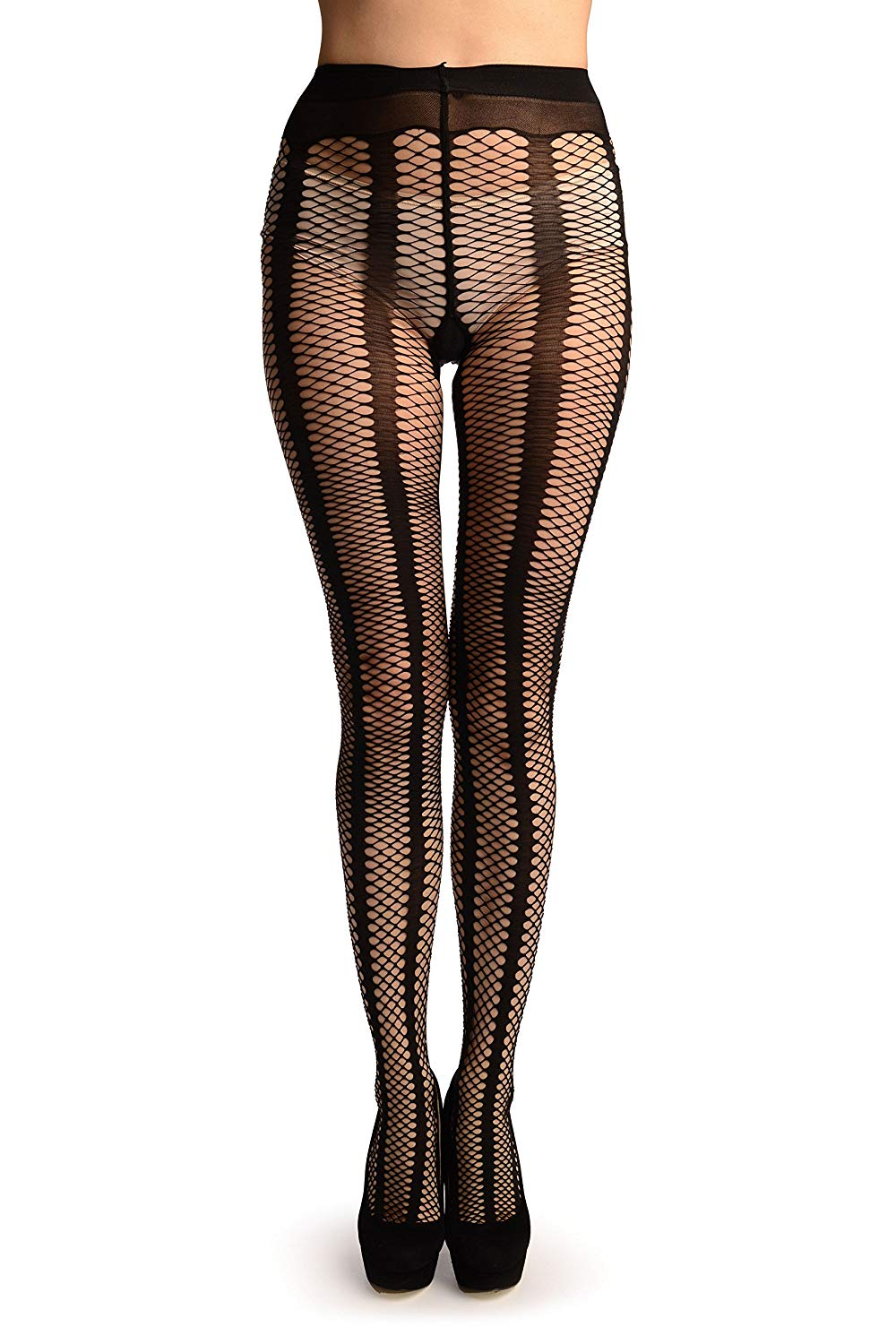 dc95cc1223d Get Quotations · Black Sick Mesh Fishnet With Black Stripes Tights -  Pantyhose (Tights)