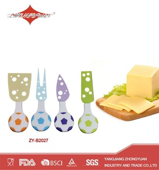 ZY-B2027 Colorful Stainless Steel Football Shape Handle Cheese Knife Set