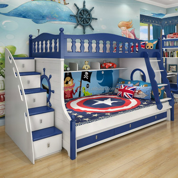 MDF Wooden Kids Bunk Bed With Stairs And Drawers Cartoon