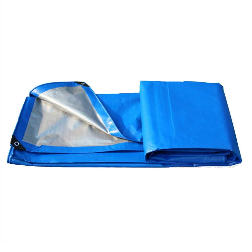 LQQGXL Tarpaulin, Waterproof Double-Sided dustproof Tarpaulin, Cargo Truck Sunshade, Plant Sunscreen Insulation, Blue + Gray Waterproof Tarpaulin