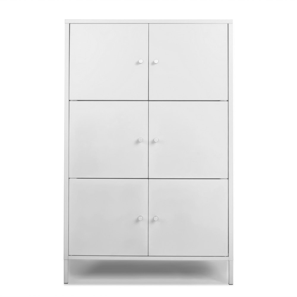 IKAYAA Tall Office Metal Storage Cabinet 6 Door Free Standing Floor Cabinet Office Locker Bedroom Bathroom Living Room Furniture