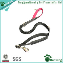 bungee reflective dog leash plastic grip handle extra D ring dog leash