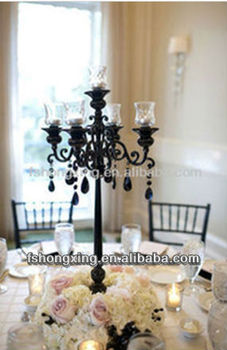 2017 Hot Black Crystal Candelabra For Wedding Centerpiece Whole