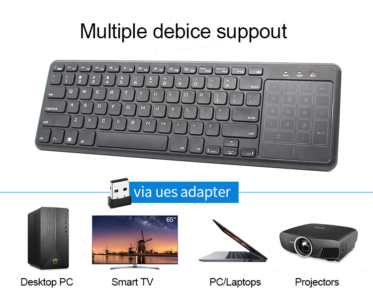 ABS 10.1 Inch Slim Wireless Bluetooth Keyboard With Touchpad and Number Pad for Smart TV TV box
