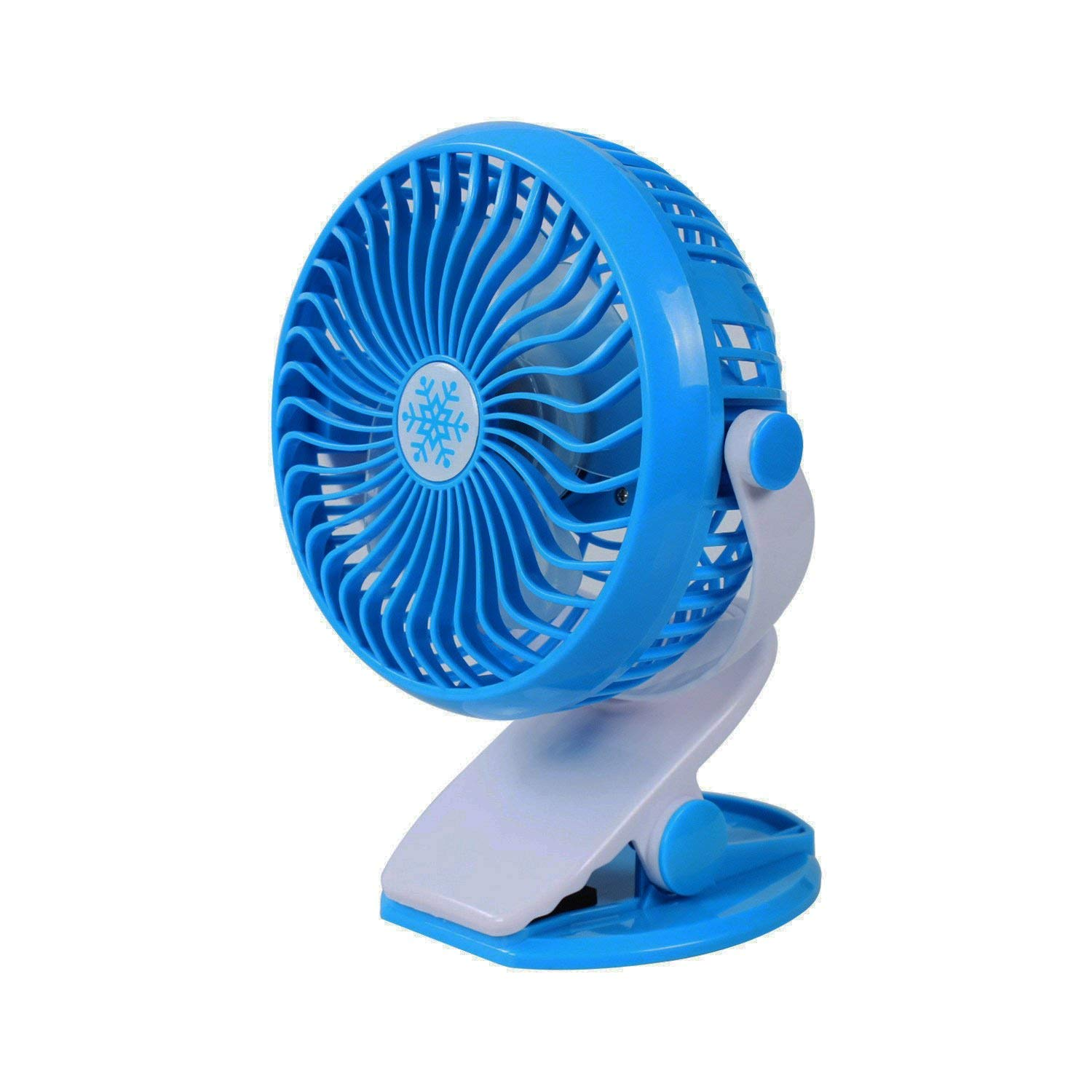 Battery Clip Fan Portable Table Fan Powered by 2000mA Rechargeable Battery or USB Charging Cable, Table-Top & Clip on Fan, 360 Degree Rotation, Low Noise, Ideal for Home, Office, Dorm and Car - Blue