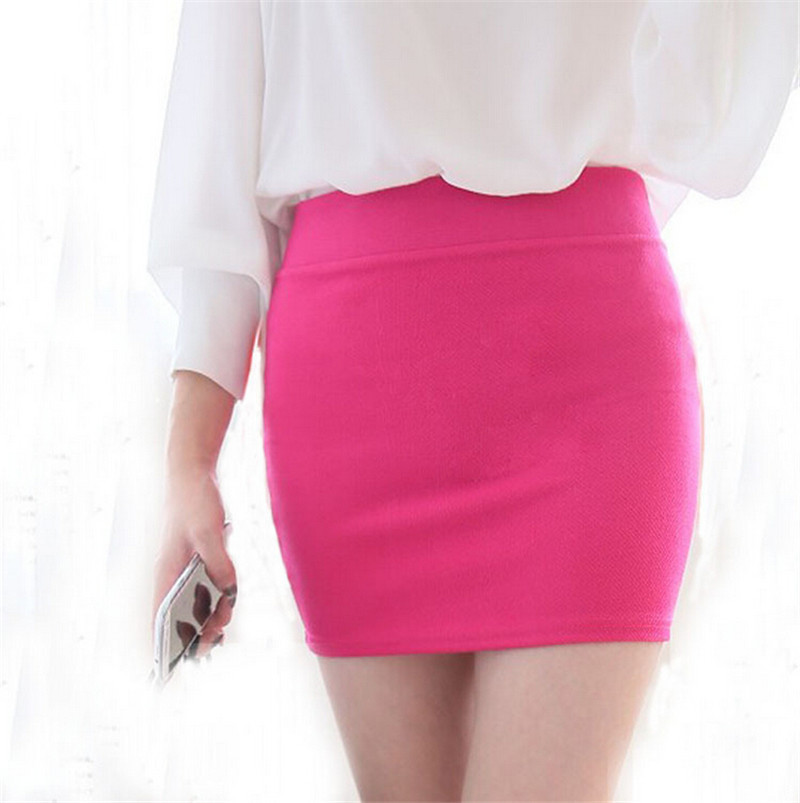aa4144f696 Get Quotations · Wholesale 2015 High Waisted Skirts Womens Office Ladies  Black Slim Elasticity Candy Pencil Skirt 8 Colors