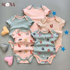Baby Summer 5 Pieces Pack Newborn to Toddler Romper Baby Infant Girl Bodysuit