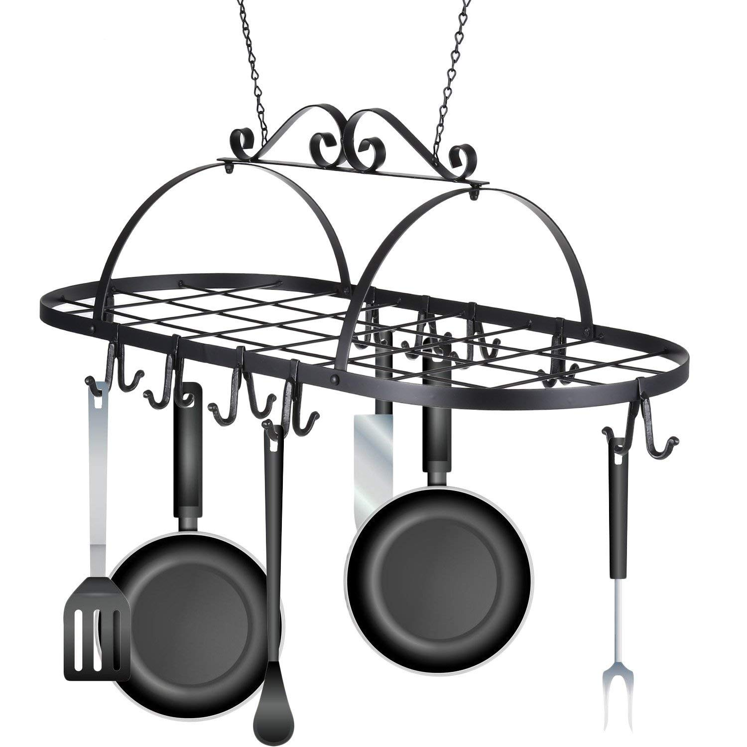 Pesters Iron Hanging Pot Rack, Kitchen Holder Hanger Pots and Pans Rack Organizer to Storage Utility Cookware (US STOCK)