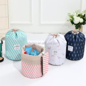 2018 new design promotional striated folding travel round organizer toiletry makeup cosmetic bag