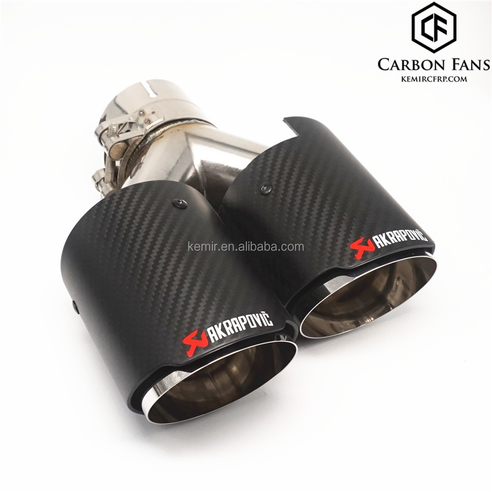 Universal Akrapovic Exhaust Tip With Carbon Fiber Pipe 304