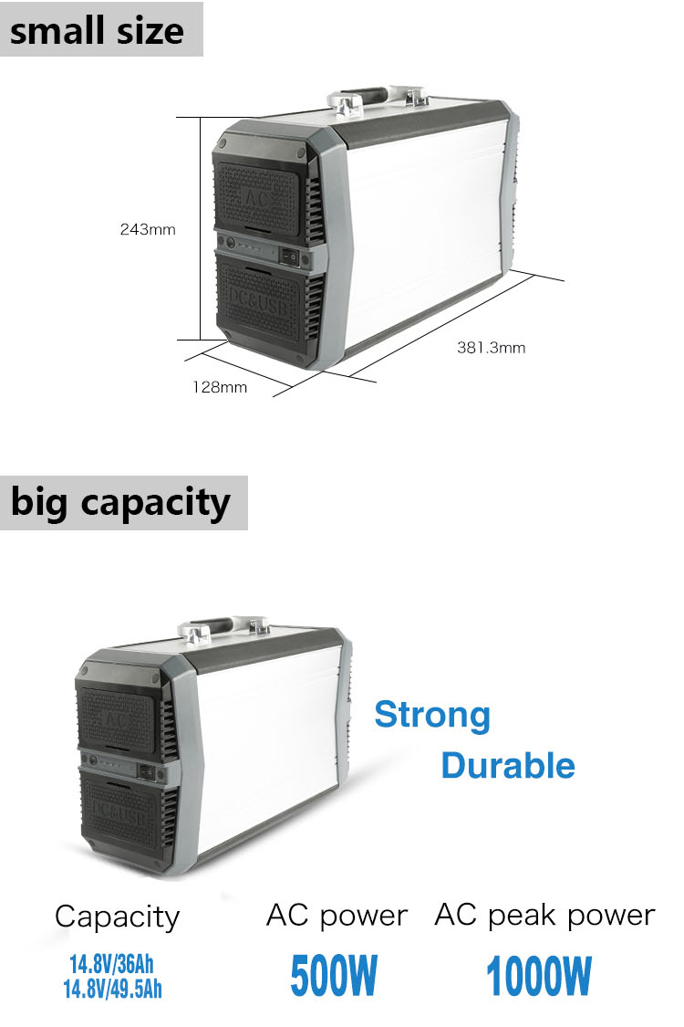 700W High Capacity Portable Power Station with AC Inverter Power Charger for Equipments