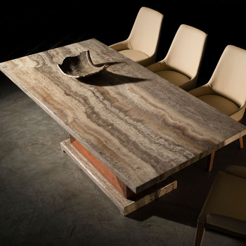 Fashion Chinese Style Wood Marble Stone Dining Table Design For Home - Wood and stone dining table