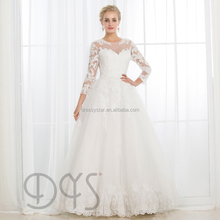Western long sleeves vestido de novia white lace appliqued wedding dress bridal