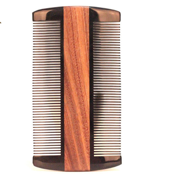 new design wood horn beard double hair lice comb